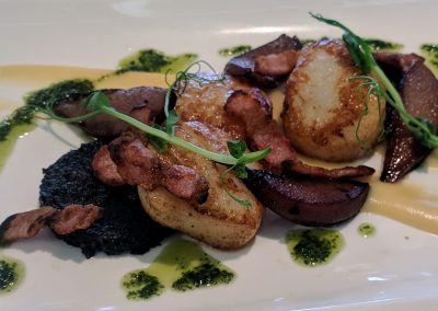Scallops, Black Pudding and Apple puree